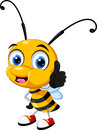 Little bee cartoon thumb up illustration of Royalty Free Stock Image