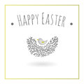 Little bird nesting graphic design element easter card Stock Image
