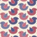 Little birds with light seams - vector seamless pattern