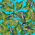 Little birds sing songs. Seamless texture. Stock Photography