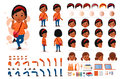 Little Black African Girl Student Character Creation Kit Template with Different Facial Expressions
