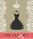 Little black dress with chandelier,ribbon, paisley border Royalty Free Stock Photography