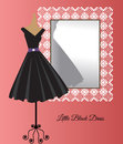 Little black dress beside decorative mirror all occasion Royalty Free Stock Images