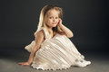 Little blond beautiful girl with long hair Royalty Free Stock Image