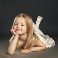 Little blond beautiful girl with long hair Royalty Free Stock Photo
