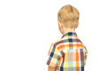 Little blond boy child upset offened turned his back isolated white background Stock Photo