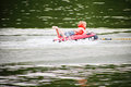 Little blond boy tubing on a lake Royalty Free Stock Images