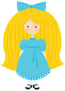 Little blond girl in a blue dress with bow on her head Royalty Free Stock Photo