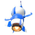 Little Blue Rocket Robot Flying Away Stock Images
