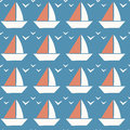 Little Boat Seamless Pattern. Tiny Boat on Blue Background.