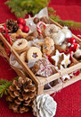 Little box with a variety of cookies and nuts wooden for christmas Stock Photos