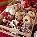 Little box with a variety of cookies and nuts wooden for christmas Royalty Free Stock Image