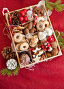 Little box with a variety of cookies and nuts wooden for christmas Stock Photo
