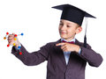 Little boy in academic hat professor with chemical crystal cell isolated on a white background Stock Image