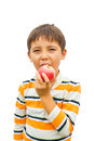 A little boy with an apple Stock Photo
