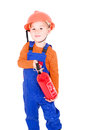 Little boy as a firefighter with fire extinguisher powder optional Royalty Free Stock Image