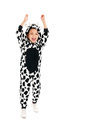 Little boy as happy cow dressed isolated over white background Stock Image
