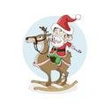 Little boy as santa ride wooden reindeer. Christmas, New Year