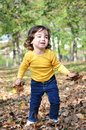 Little boy in autumn park photo of cute having fun Stock Images