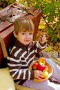 Little boy in autumn park with a suitcase chocolate and apples Royalty Free Stock Photography