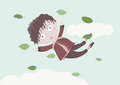Little boy in autumn sky with flying leaves the Royalty Free Stock Photos