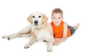 Little boy with a big dog Royalty Free Stock Photos