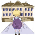 Little boy with big school bag standing towards school building cartoon illustration in outline style of Stock Image