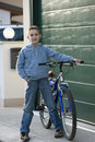 Little boy with bike Royalty Free Stock Images