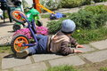The little boy bike crash. Royalty Free Stock Photo