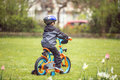 Little boy with bike in park Royalty Free Stock Photo