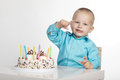 Little boy with birthday cake Royalty Free Stock Photo