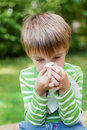 Little boy blowing his nose in the garden because of allergy Stock Photos