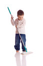 Little boy broom Stock Images