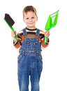 Little boy with brush and dustpan Royalty Free Stock Photo