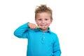Little Boy Brushing Teeth on white background Royalty Free Stock Photo