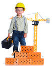 Little boy builder Royalty Free Stock Photo