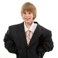 Little boy business man cheerful portrait isolated on white background Stock Images