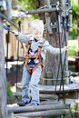 Little boy at a canopy tour Royalty Free Stock Photo