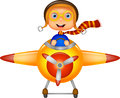 Little boy cartoon operating a plane illustration of Royalty Free Stock Photo