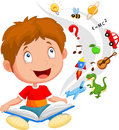 Little boy cartoon reading book education concept illustration