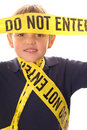 Little boy caution do not enter vertical Stock Image