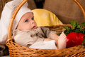 Little boy in the cook costume in a basket Royalty Free Stock Image