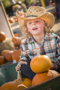 Little boy in cowboy hat bij pompoenflard Stock Foto's