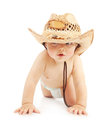 Little boy in cowboy hat cute having fun and diaper isolated on white background adorable child crawling studio Royalty Free Stock Images