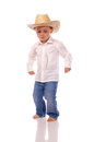 Little boy cowboy hat dancing Royalty Free Stock Images