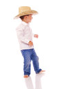 Little boy cowboy hat dancing Stock Photography