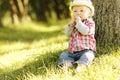 Little Boy In A Cowboy Hat Pla...