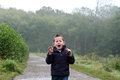 Little boy crying out in the woods Royalty Free Stock Photo