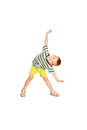 Little boy dancing cheery party a in a striped t shirt isolated on white background Stock Images