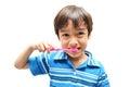 Little boy die tanden borstelen Stock Afbeeldingen